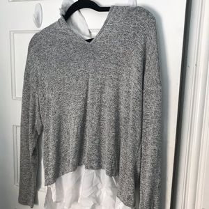 COLLARED SWEATER TOP FOREVER 21 GREY/WHITE